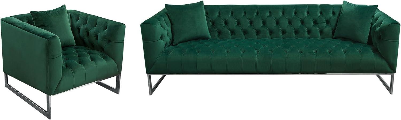 Diamond Furniture CRAWFORDSCEM Crawford Tufted Sofa & Chair 2PC Set in Emerald Green Velvet w/ Polished Metal Leg & Trim