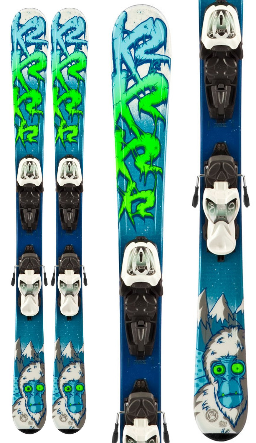 K2 Indy Skis w Marker Fastrak2 7.0 Bindings Youth Sz 124