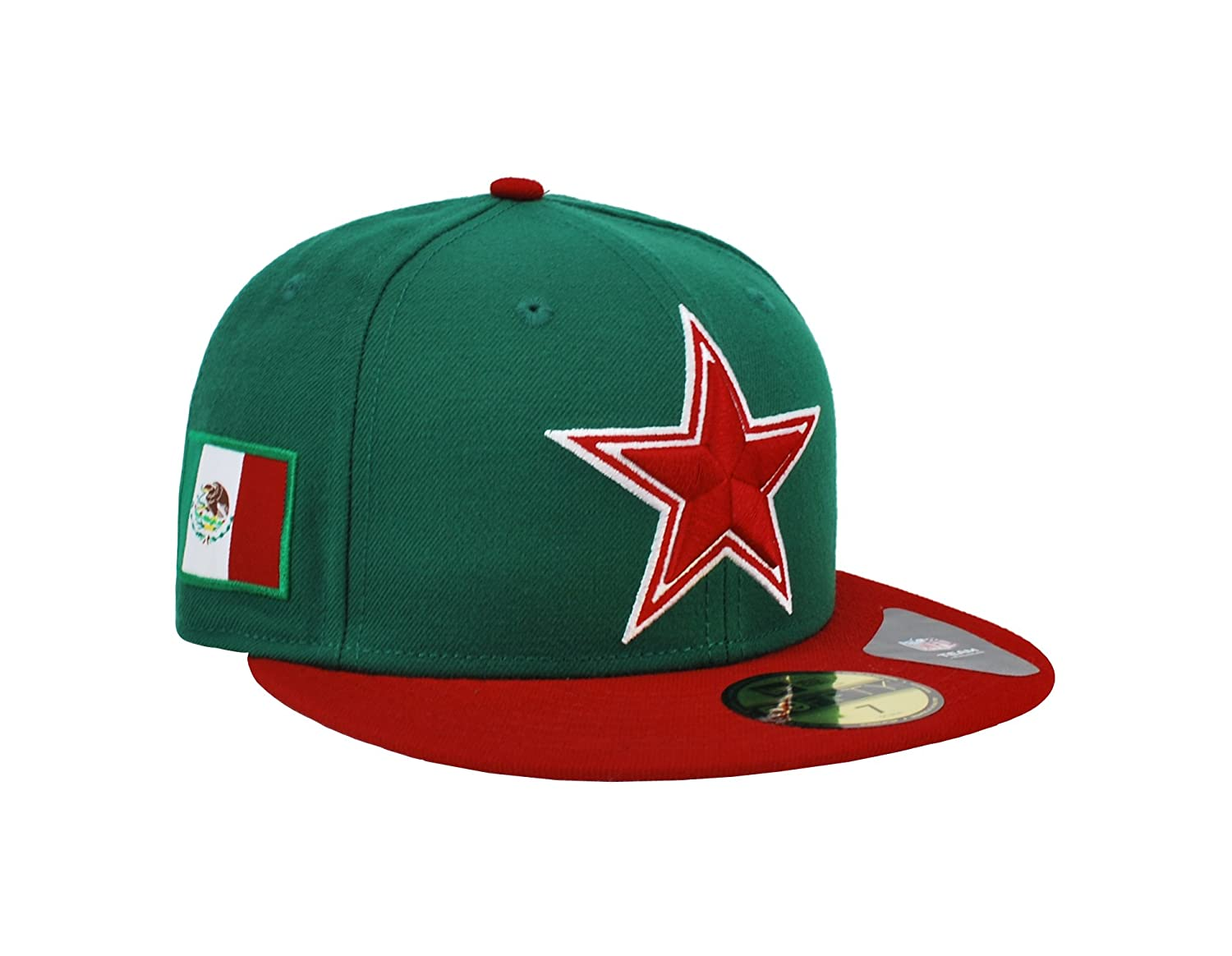 best service 1b069 1add3 Amazon.com  New Era 59Fifty Hat Dallas Cowboys Mexico Flag Edition Green  Red  Redux Fitted Cap (8)  Clothing