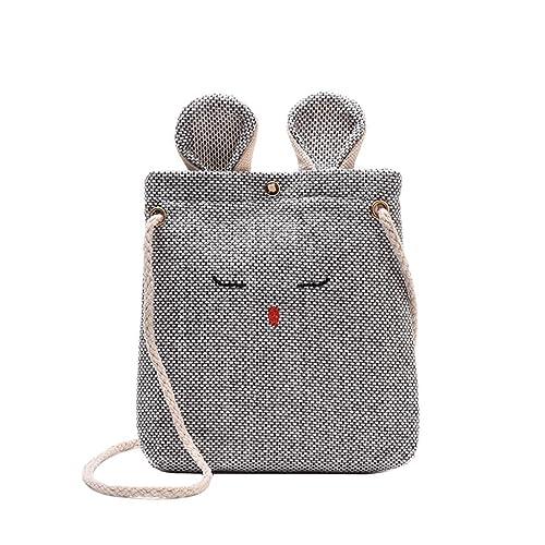 53e1ebd3458d Amazon.com: Rakkiss Women Burlap Messenger Bag Cartoon Crossbody Bag ...
