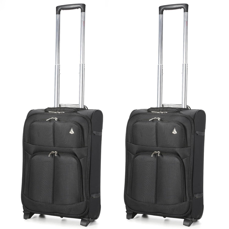 Aerolite Leichtgewicht 2 Rollen Handgepäck Trolley Koffer Bordgepäck Kabinentrolley Reisekoffer Gepäck, Genehmigt für Ryanair easyJet Lufthansa und mehr , 2 teiliges Kofferset Gepäck-Set , Schwarz