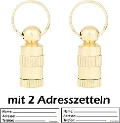 2 Stück ! (Doppelpack) Adressanhänger In Gold XS / Mini 2 CM Länge Für Kleine Hunde Und Katzen Mit Adressetiketten / Wasserdicht / Pillendose / Adresshülse Von Amathings