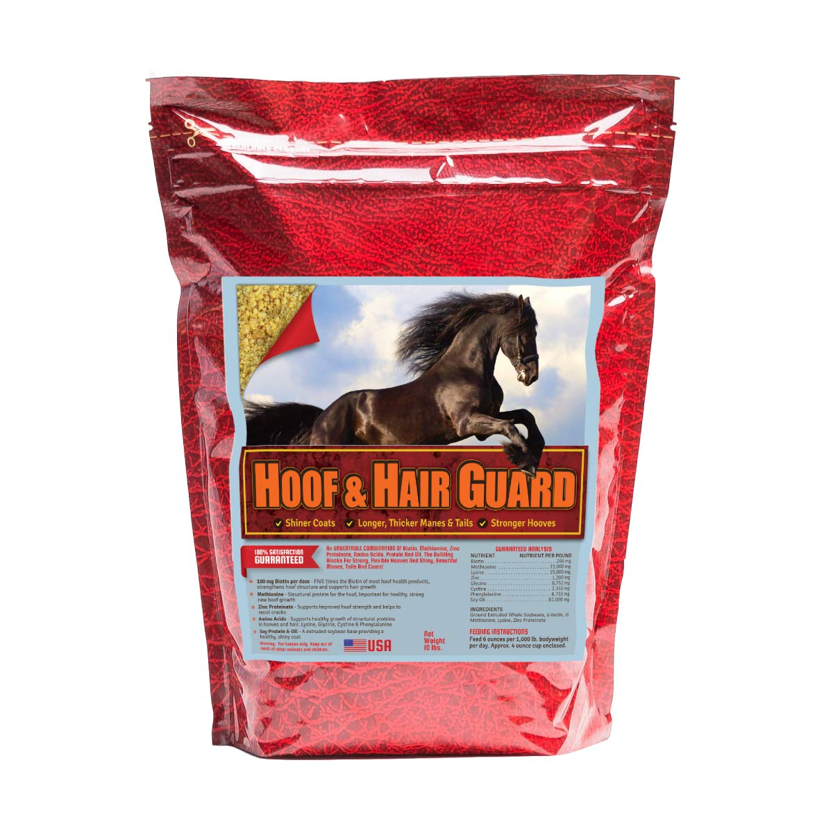 Horse Guard HOOF & HAIR GUARD EQUINE HOOF SUPPLEMENT AND EQUINE COAT SUPPLEMENT WITH AMINO ACIDS, BIOTIN, METHIONINE & SOY OIL, 10 lb by Horse Guard (Image #1)
