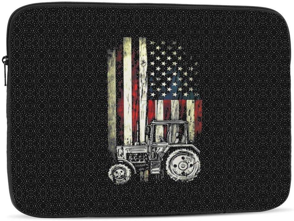 Laptop Sleeve Tractor American Flag Patriotic Vintage Farming Tablet Bag 10 Inch, 12 Inch, 13 Inch, 15 Inch, 17 Inch