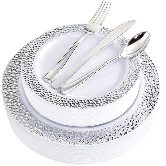 BUCLA 25 Guest Silver Plastic Plates with Disposable Plastic Silverware, Hammered Design Plastic Tableware include 25 Dinner Plates,25 Salad Plates,25 Forks, 25 Knives, 25 Spoons