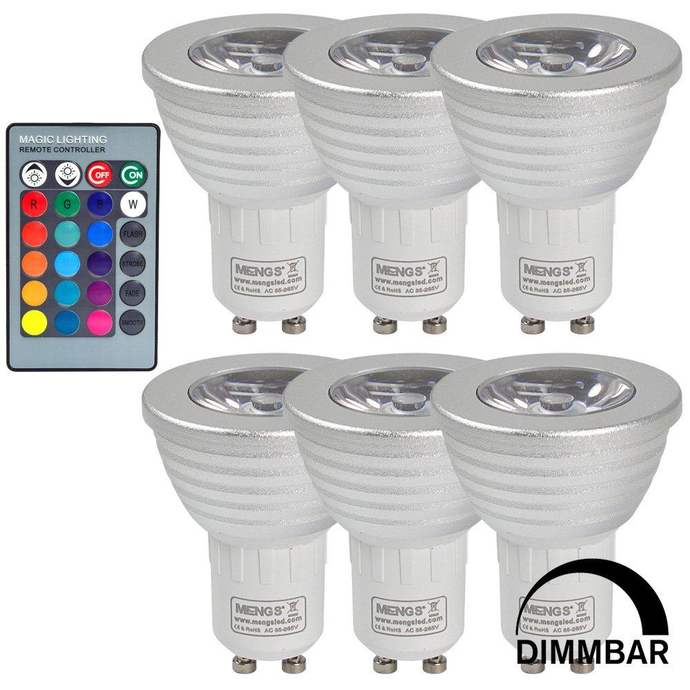 6X MENGS® GU10 3W LED RGB Lampe Birne SMD LEDs LED farbwechsel Licht Leuchtmittel mit IR-Fernbedienung (180lm, AC 85V - 265V, 50 x 61mm) - multicolor dimmbar inklusive Infrarot - Ferbedienung GumpTrade
