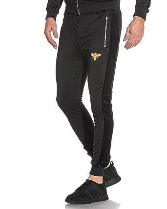 rétro comment acheter bébé PROJECT X - Pantalon de Jogging Noir bimatière Patch Abeille ...