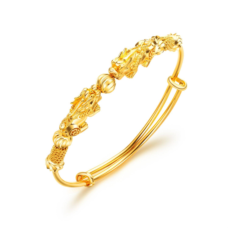 Women's 18K Gold Plated Copper Chinese Pixiu Cuff Bracelet Bridal Jewelry Adjustable