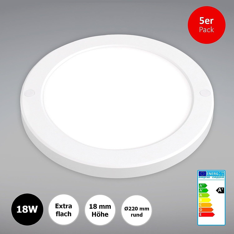 extra flach Xtend PLd 5x LED Aufbaupanel rund 18W /Ø220mm Neutralwei/ß Deckenleuchte integriertes Netzteil 4000K