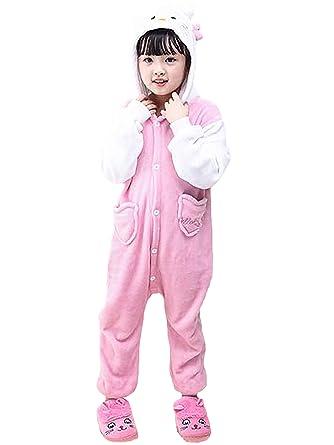 89398b8918ae5 Beunique Enfants Onesies Combinaison Pyjama Enfant Unisexe Filles Garçons  Animal Cochon Vache Licorne Chaud Déguisement Cosplay