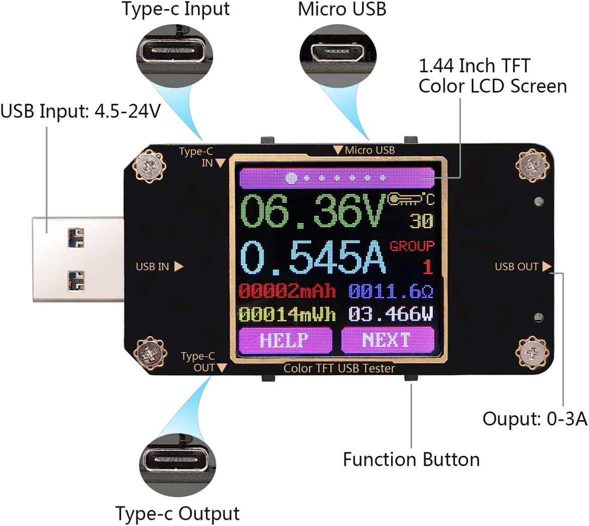 Type-C USB Tester Support PD QC2.0 QC3.0//4.0 MTK Multimeter with Usb Male Female Turn Head Alligator Clip Test Line Color LCD Screen Rhinoco USB Power Meter Tester with Bluetooth