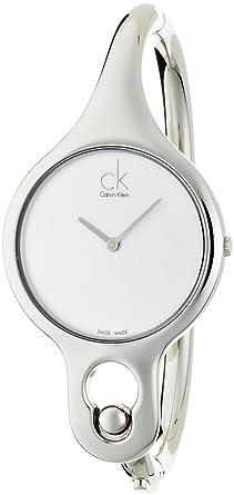 Calvin Klein K1N22120 - Reloj analógico de cuarzo para mujer con correa de acero inoxidable, color plateado: Amazon.es: Relojes