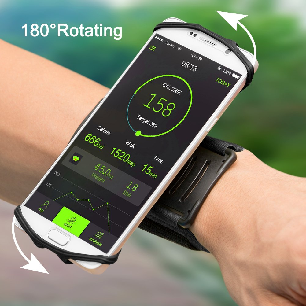 VUP Wristband Phone Holder for iPhone X iPhone 8 8Plus 7 7 Plus 6S 6 5S Samsung Galaxy S8 Plus S7 Edge, Google Pixel, 180° Rotatable, Great for Hiking Biking Walking Running Armband(Black) by VUP (Image #6)