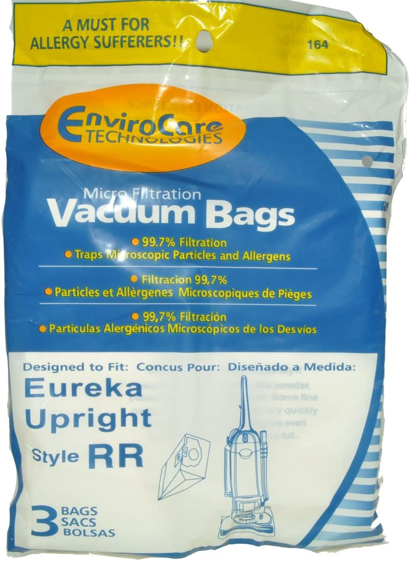 Eureka Upright Style RR Vacuum Cleaner Bags, EnviroCare Replacement Brand, designed to fit Eureka Upright Vacuum Cleaners using Style RR Bags, 99.7 Microfiltration, 3 bags in pack