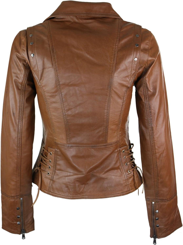 Ladies Womens Real Leather Slim Fit Vintage Jacket S