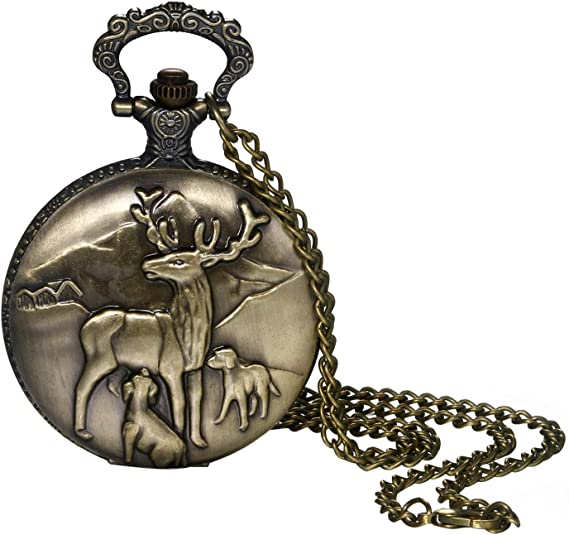 Pocket Watch for Men and Boys Vintage Bronze Cute Deer Decorative Case Arabic Numeral Dial Quartz Analog Pocket Watch with Chain for Christmas