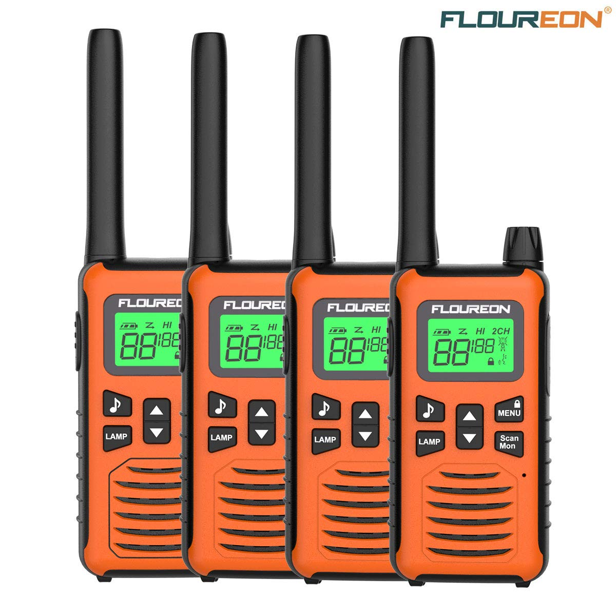 MAX 5000M USB Cable Charging Walkie Talkies 4 Pack for Outdoor Adventures Camping Hiking floureon Walkie Talkies for Adults Long Range Two Way Radio 22 Channel 3000M Orange