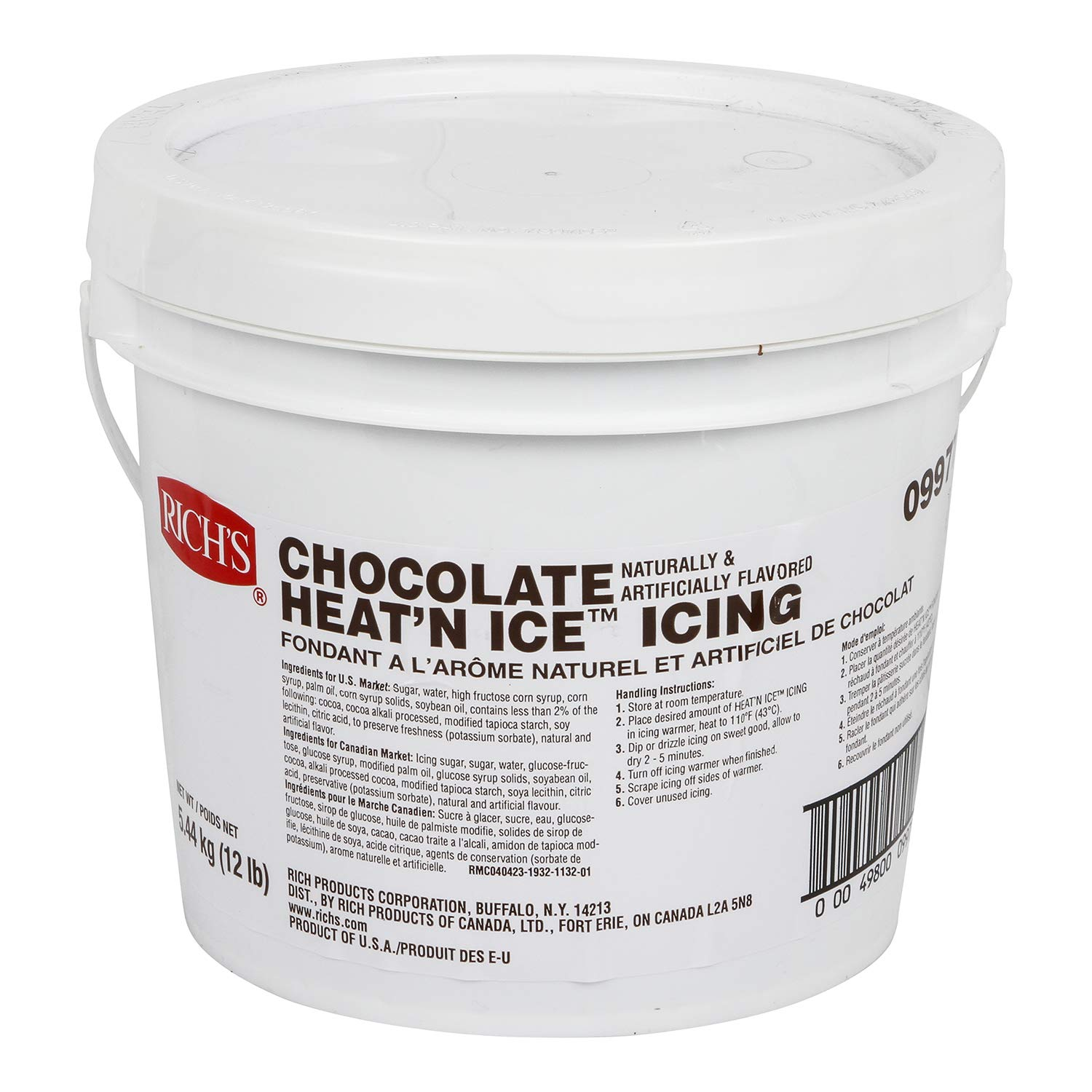 Rich's Heat 'N Ice Donut Icing for Donuts, Rolls & More, Chocolate, 12 lb Pail