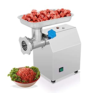 Happybuy Meat Grinder Stainless Steel Electric Meat Grinder Commercial Sausage Stuffer Maker Maker for Industrial and Home Use (Sliver/850W)