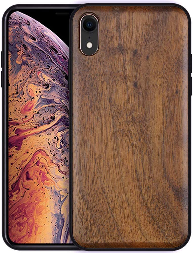 Boogice iPhone XR Wood Case - Real Natural Walnut- Slim Shockproof Hybrid Wooden Cover for iPhone XR (Walnut)