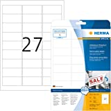 Herma 4347 Movables Etiketten ablösbar, wieder haftend (63,5 x 29,6 mm auf DIN A4 Papier matt, weiß) 675 Stück auf 25 Blatt, bedruckbar