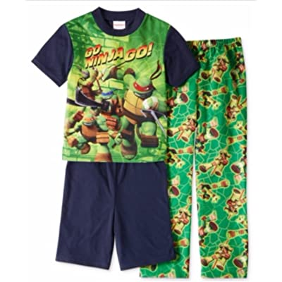 AME Boys' or Little Boys' 3-Piece Teenage Mutant Ninja Turtles Pajamas, 8, Navy