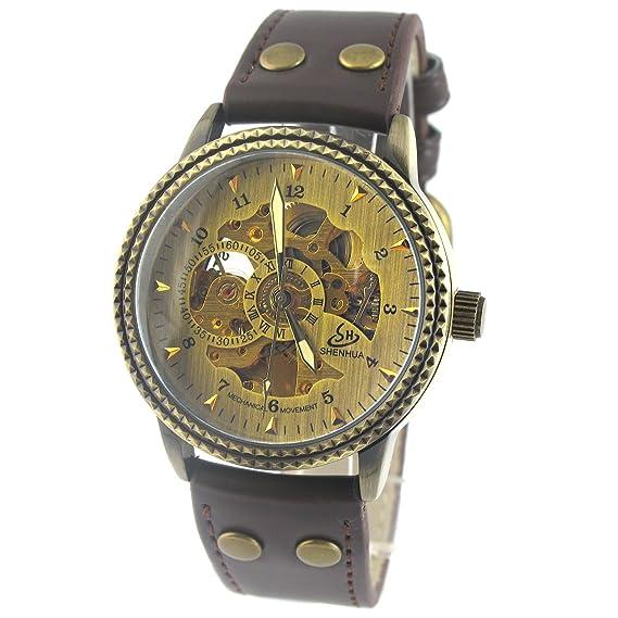 MapofBeauty Hombres Esqueleto de oro reloj mecánico automático Tabla espejo de cobre Bisel Relojes Especiales Mecánicos