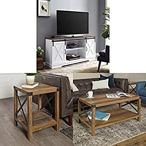 Walker Edison WE Furniture TV Stand with Wood Square Side Accent Living Room Small End Table, 18 Inch and Wood Rectangle Accent Coffee Table Living Room Ottoman Storage Shelf, Reclaimed Barnwood