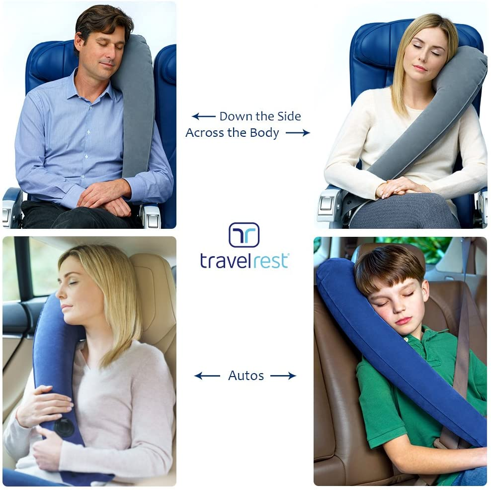 Inflatable Ultimate Travel Pillow – Straps to Airplane & Car Seats–Compact, Inflates & Deflates Quickly. Ideal Travel