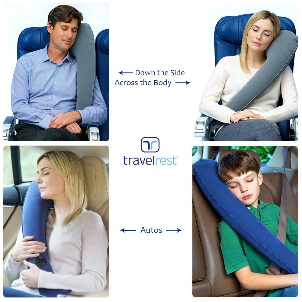Travelrest Ultimate Inflatable Travel Pillow /& Neck Pillow Rolls Up Small