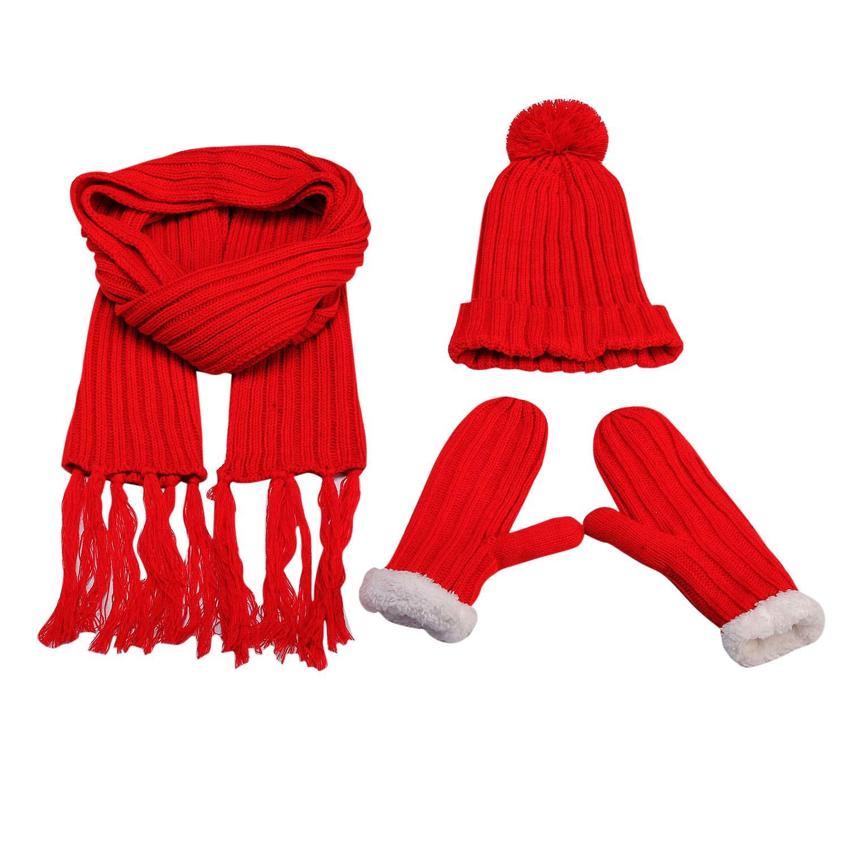 Donna Ragazza 3in 1sciarpa, berretto e guanti Set, treccia modello sciarpa guanti cappello lavorato a maglia con pelliccia sintetica pon-pon pelliccia Bommel suddivisa può, Rosso Beige Blu Gutcandie