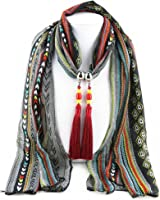 Ysiop Women Chiffon Geometric Scarf Necklace Vintage Bohemia Tassel Neckwear