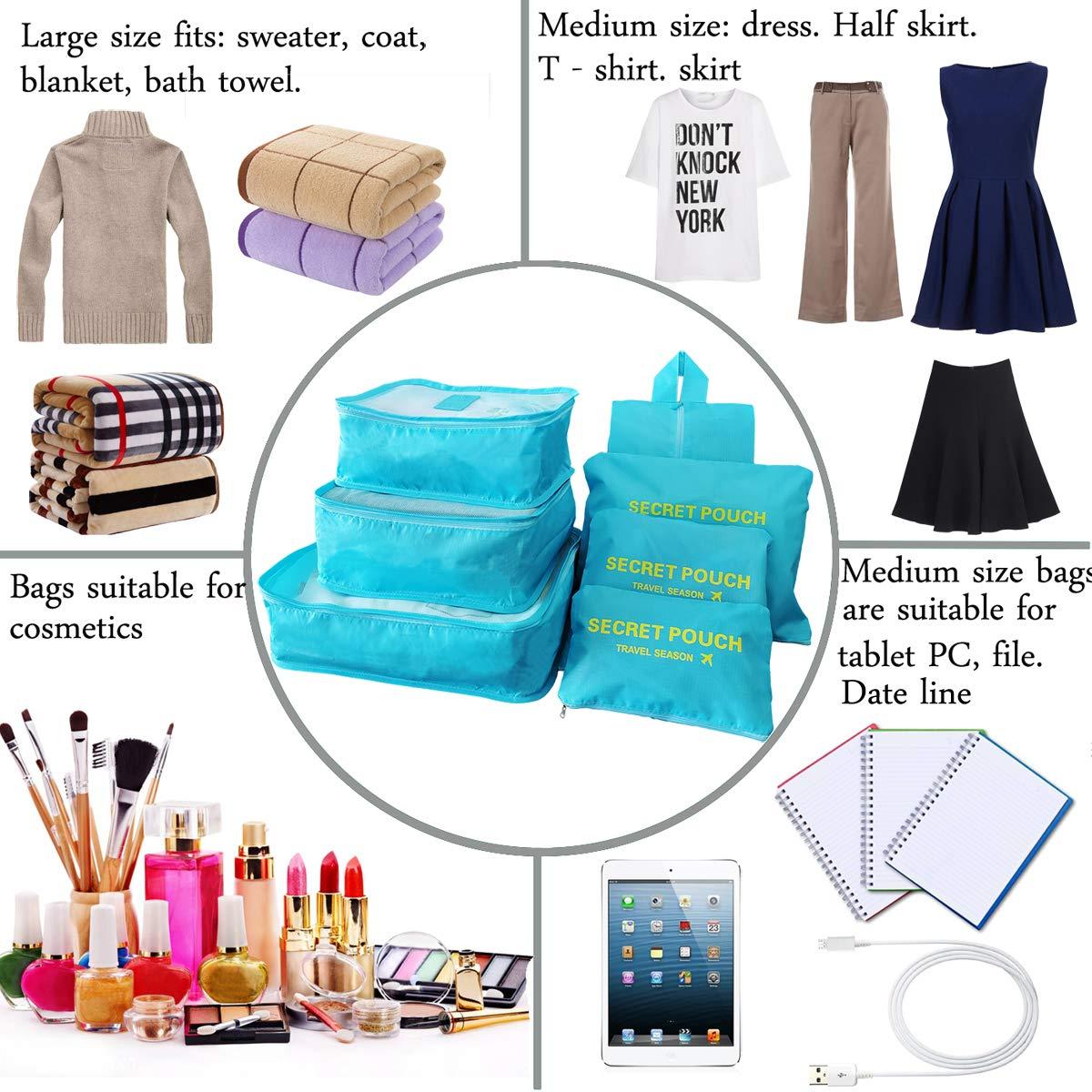 Sackorange 7 Set Travel Storage Bags Packing cubes Multi-functional Clothing Sorting Packages,Travel Packing Pouches,Luggage Organizer