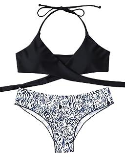 b1a1ff8a9ed10 MOOSKINI Womens Padded Push-up Bikini Set Bathing Suits Two Pieces Swimsuit  Black
