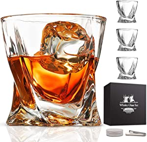 Whiskey Glass Set of 4 - Lead-Free Crystal Clear Twist Scotch Glasses 10 oz Glassware with Luxury Gift Box & 4 Drink Coasters & 1 Ice Tong for Drinking Bourbon Malt Cognac Irish Whisky