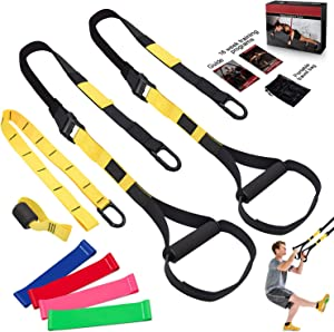 LPLIG Bodyweight Resistance Training Straps, Complete Home Gym Fitness Trainer kit for Full-Body Workout, Included Door Anchor, Extension Strap, 16 Week Program, Fitness Guide