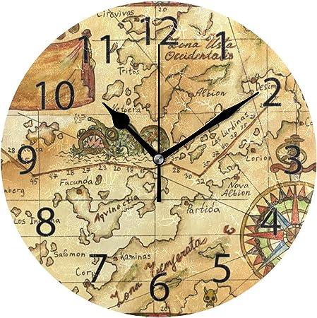 Horloge Murale Tour De Vent Rose De Carte De Tresor De Pirate Silencieux De Diametre De 10 Pouces Decoratif Pour L Ecole De Bureau A La Maison Amazon Fr Cuisine Maison