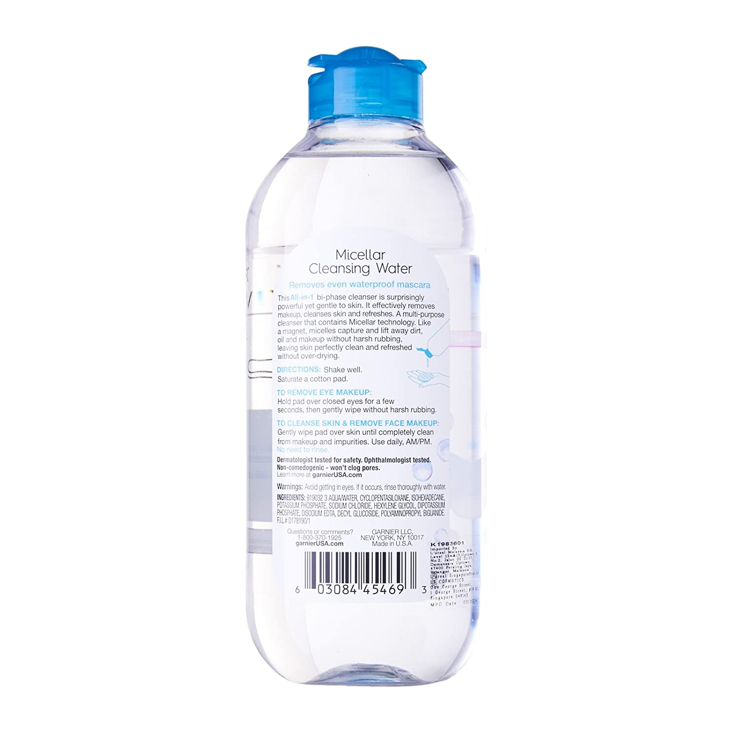 Garnier Micellar All In 1 Waterproof Make Up Cleansing Water For Liquid Nos Premium Malay Skin Types Including Sensitive Gentle Makeup Remover 400ml Beauty