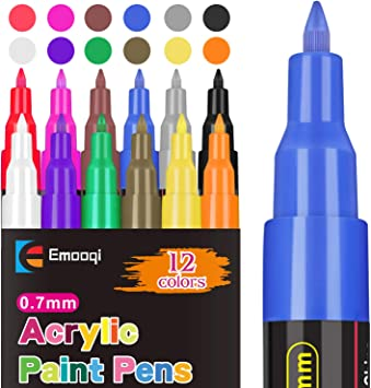 Amazon Com Acrylic Paint Pens Emooqi Marker Pens For Diy Craft Projects Waterproof Permanent Paint Art Marker For Rock Painting Ceramic Glass Canvas Mug Wood 0 7mm Fine Tip 12 Pcs Home Kitchen
