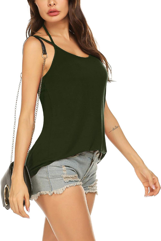 Unibelle Damen Top Neckholder /Ärmellose Bluse Spaghetti B/ügel Loose Cami Tank Top Shirts S-XXL