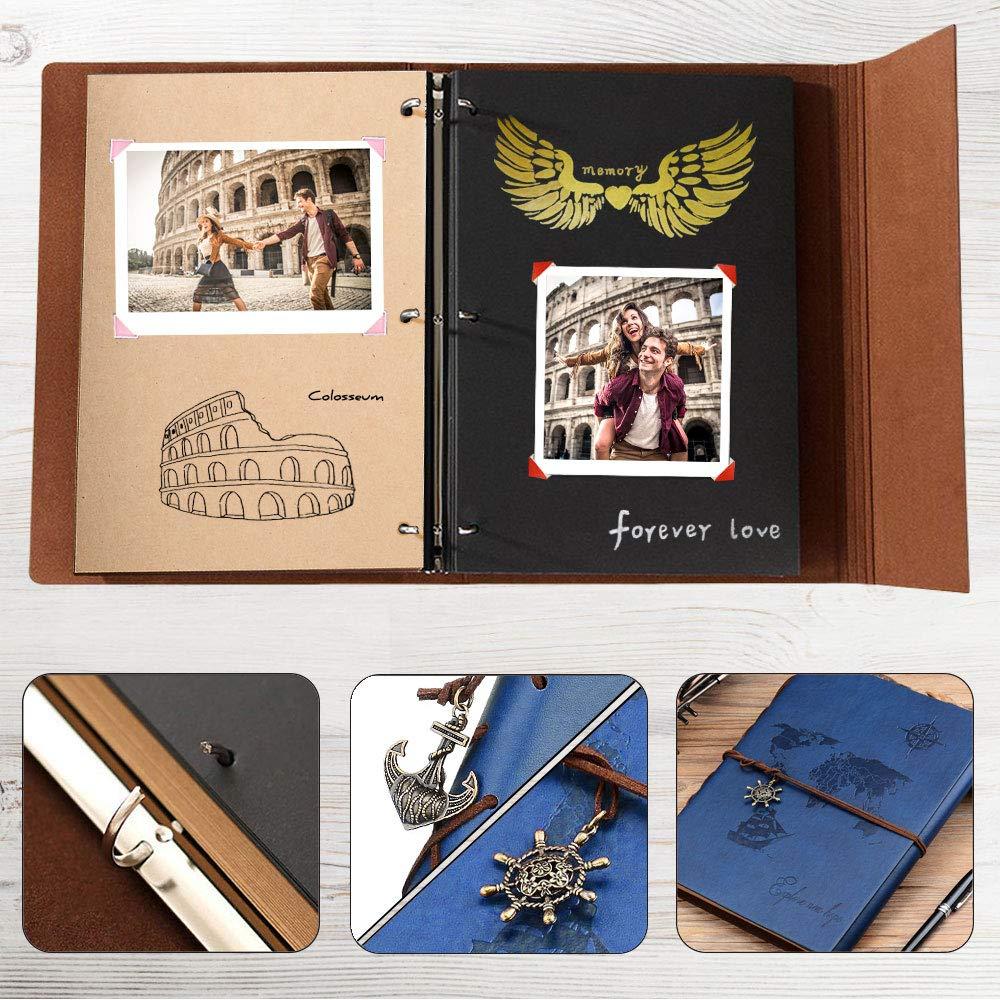 Album de Fotos Cuero Retro Viaje Mapa Mundial Libro Album Scrapbooking Autoadhesivas DIY Sketchbook Especial Cumplea/ños de San Valent/ín Padre Novio ZEEYUAN Album Fotos 18x22cm
