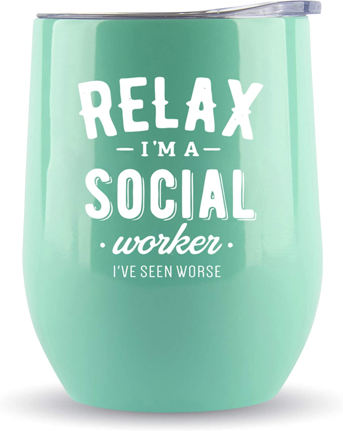 Social Worker Gifts for Women- Tumbler/Mug 12oz for Coffee, Wine or Any Drink- Funny Gift Ideas for Social Work, Graduation, Glass, Bulk, Office