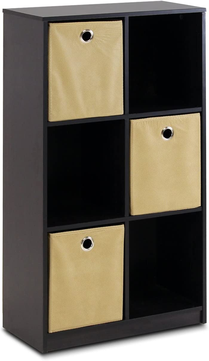 Furinno Petite Storage Organizer Bookcase With Bins, Espresso/Light Brown