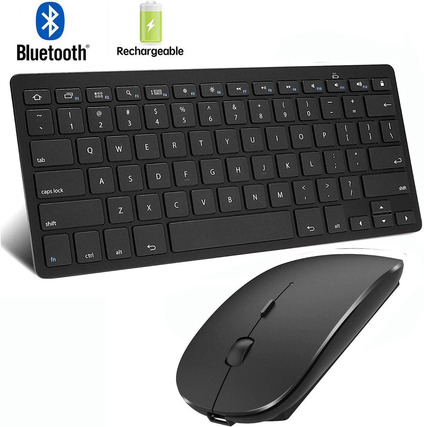 Amazon Com Bluetooth Keyboard And Mouse For Ipad And Iphone Bluetooth Keyboard Compatible With Ipad Ipad Pro Ipad Air Ipad Mini And Other Bluetooth Enabled Devices Ipados 13 Ios 13 And Above Black Computers
