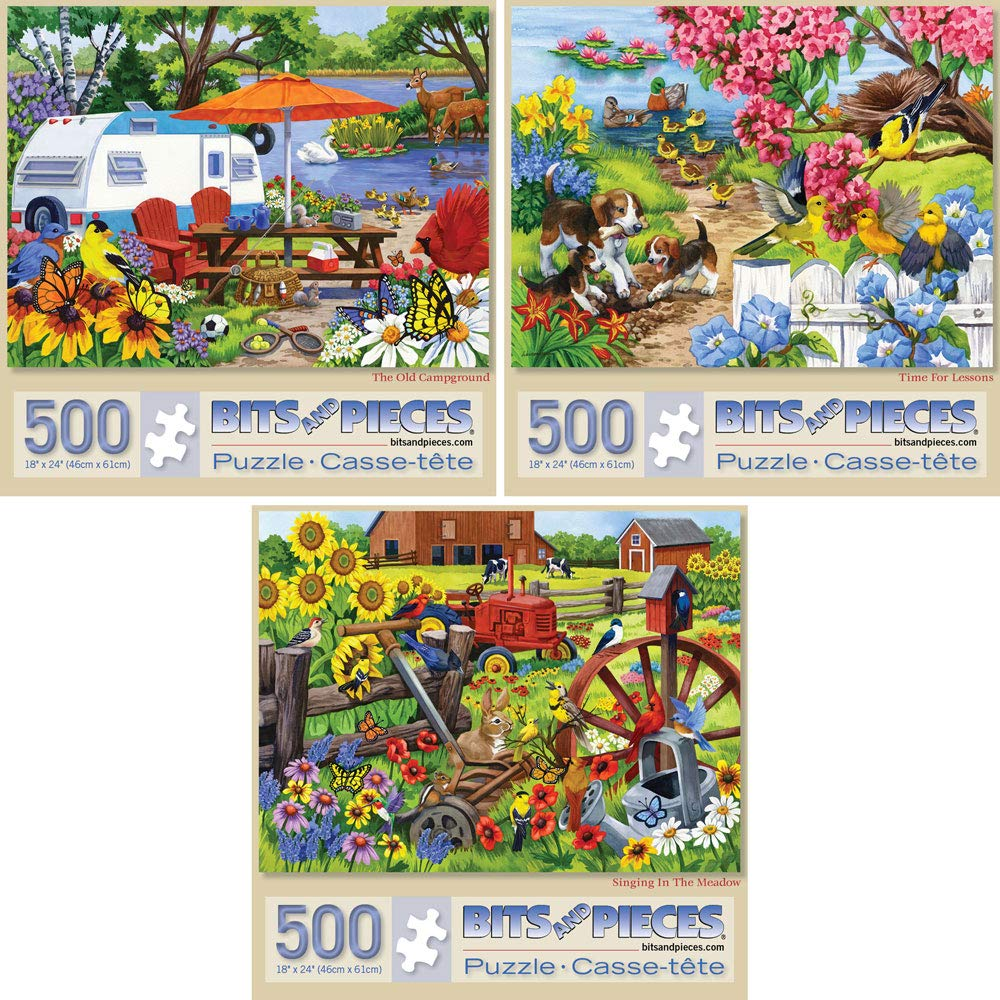 Bits and Pieces - Set of Three (3) 500 Piece Jigsaw Puzzles for Adults - Each Puzzle Measures 18'' X 24'' - 500 pc Farm and Animal Jigsaws by Artist Nancy Wernersbach by Bits and Pieces