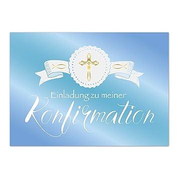 15 x Einladungskarten Konfirmation mit Umschlag//Einladung zu meiner Konfirmation blau//Konfirmationskarten//Einladungen zur Feier