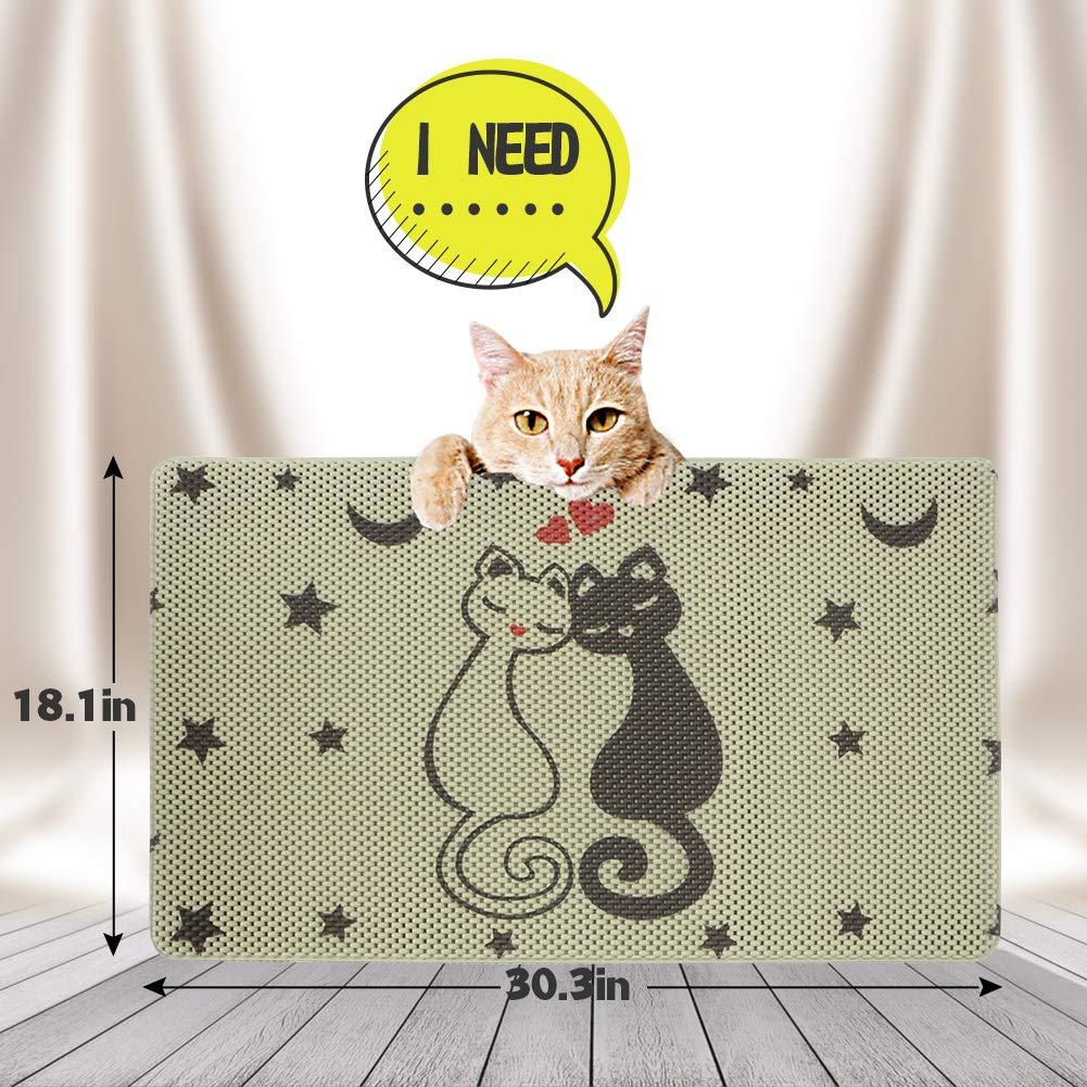 RioRand Cat Litter Mat Trapper Mat 30X18 Inch Honeycomb Double Layer Design Easy Clean Pet Feeding Mat for Litter Boxes