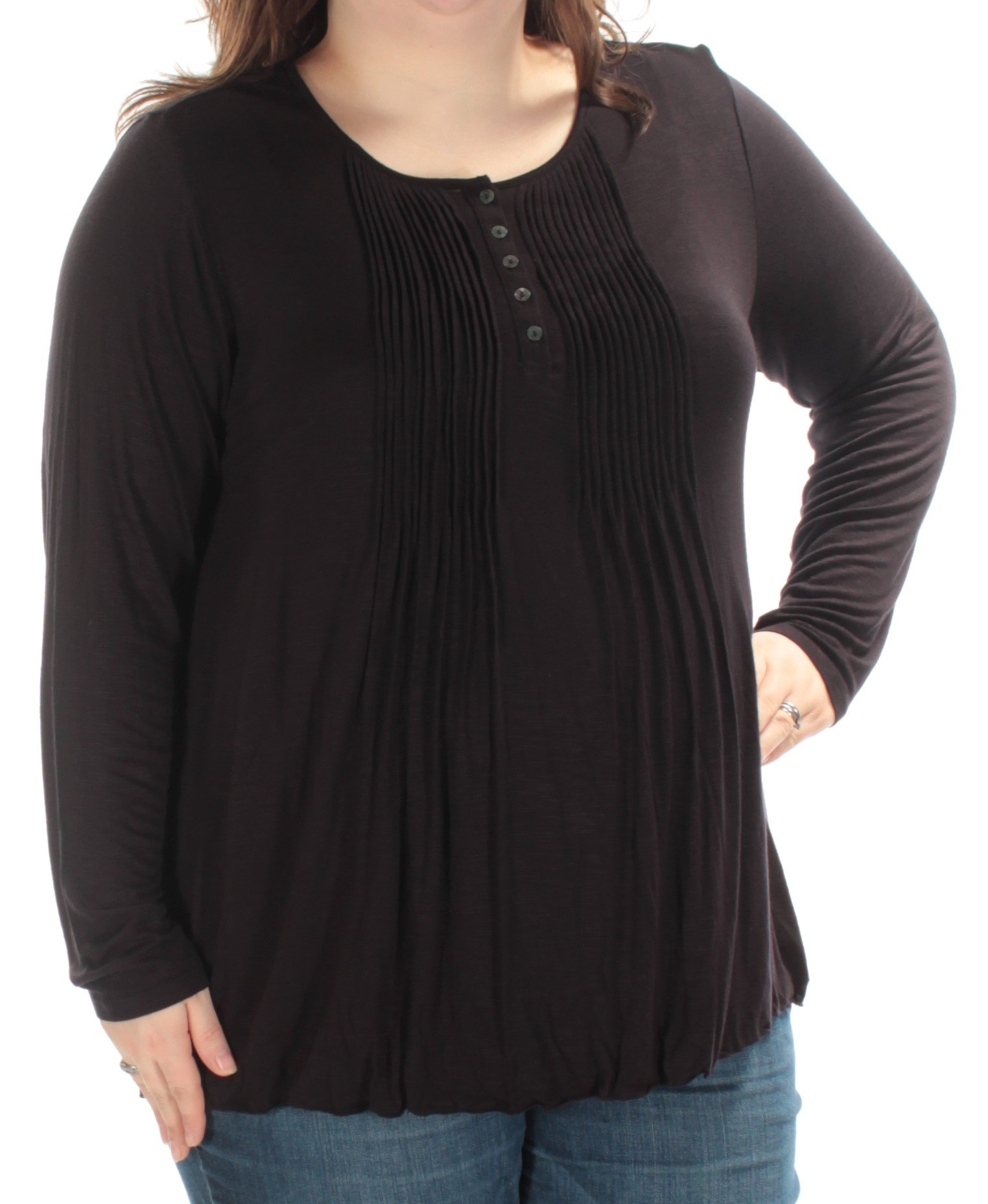 Style & Co. Womens Plus Pintuck Long Sleeves Henley Top Black 2X