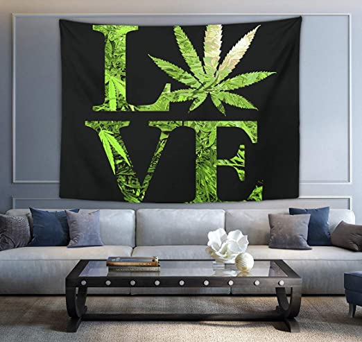 NiYoung Purple Cannabis Weed Leaves Wall Tapestry Hippie Art Tapestry Wall Hanging Home Decor Extra Large tablecloths 60x90 inches for Bedroom Living Room Dorm Room
