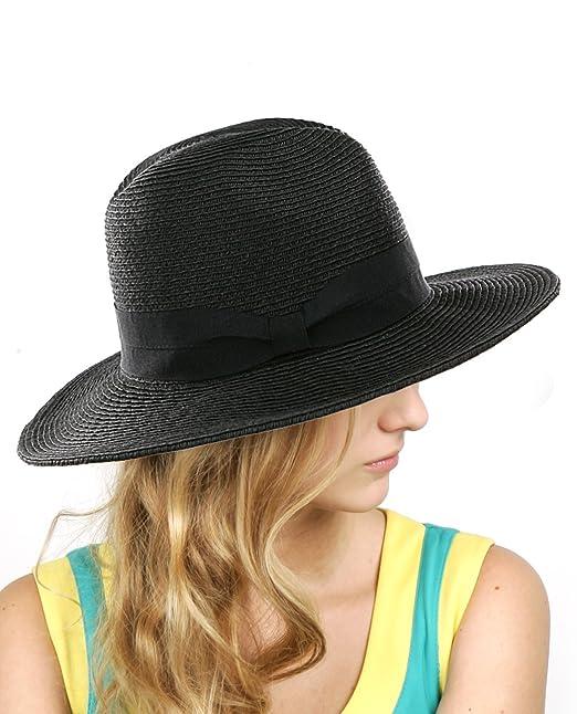 e197495d2b5f7 NYFASHION101 Lightweight Solid Color Panama Fedora Sun Hat